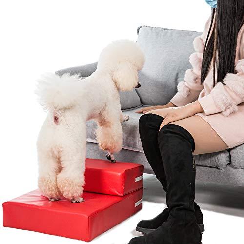 "Kondrao Kondrao 2 Stufen Einfach Schritt Hund Treppen Abnehmbarer Abdeckung, L'26.3 ""x W15.3"" x H7.8 "" (Rot)"