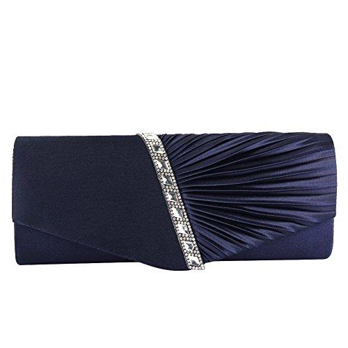 ele ELEOPTION Cartera de Mano de Satén para Mujer Diamante Bolso de Las Señoras de la Boda Nupcial Prom Bolso de Embrague Bolso del Partido de Noche Bolso de Cadena del Monedero (Azul Marino)