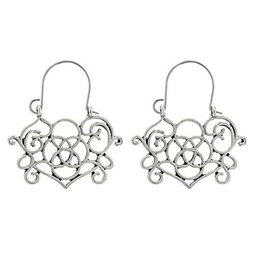 Ruby569y - Pendientes de aro para mujer, diseño geométrico, hueco, estilo bohemio, para mujer, joyería de moda, accesorio de regalo – 9022, plata