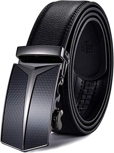 Preisvergleich Produktbild Nelbons Herren Gürtel Ratsche Automatik Gürtel für Männer 35mm Breit Ledergürtel,  Schwarz A211