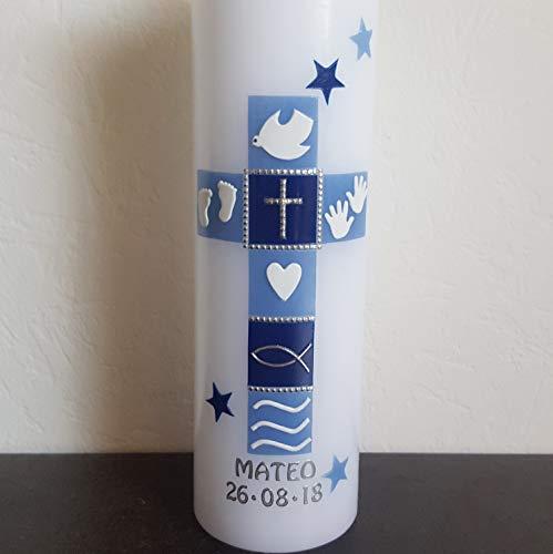 Taufkerze Kreuz, für Jungs, handarbeit, blau, Beschriftung, mehrere Größen zur Auswahl, Sterne, Taube, Herz