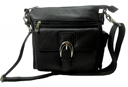 Leather Concealed Carry Cross Body Gun Purse Left or Right Hand W/Holster Black
