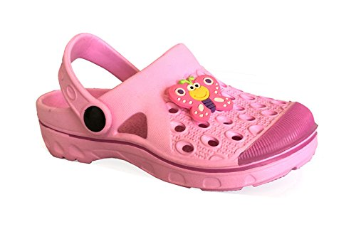 unbrand Kid's Cute Garden Shoes Boys Girls Clogs Shoes Beach Pool (Small Kid Size 2, Pink)