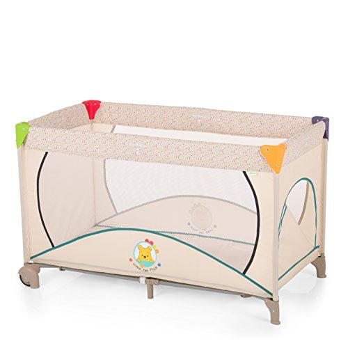Hauck kinderbed Dream N Play Go Plus Disney, inclusief wieltjes, ritssluiting aan de zijkant, matras en tas, 120 x 60 cm, vanaf de geboorte, draagbaar en opvouwbaar, beige (Pooh Ready to Play)