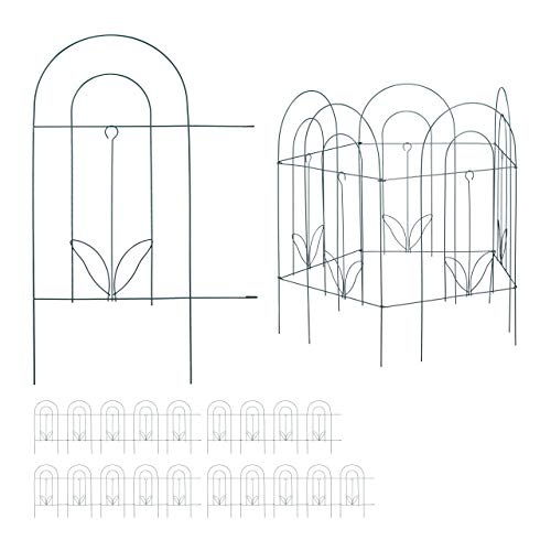 20 TLG. Beetzaun, Beetumrandung für Garten, Dekozaun aus Metall, zum Stecken, Rasenzaun, HxB: 62 x 976 cm, grün