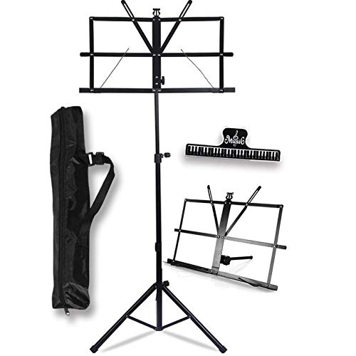 GLEAM Music Stand - 2 in 1 Dual-Use Desktop Book Stand Folding Music Holder with Carrying Bag
