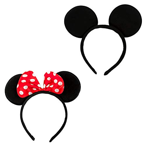 Oblique Unique® 2X Haarreifen mit Maus Ohren Schwarz Rot Weiß Gepunktet Haarreif für Fasching Karneval Kostüm Motto Party