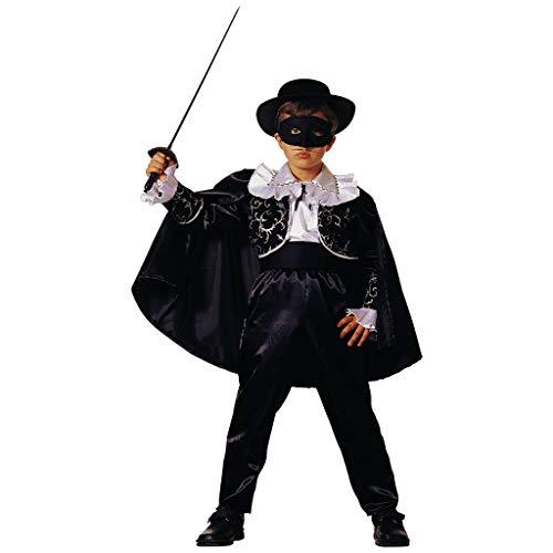 PRESTIGE & DELUXE Costume Vestito Carnevale  Zorro Cavaliere Notturno  5 6 7 8 9 10 11 12 Anni (7-8 Anni: Altezza Bimba/o 128 cm)
