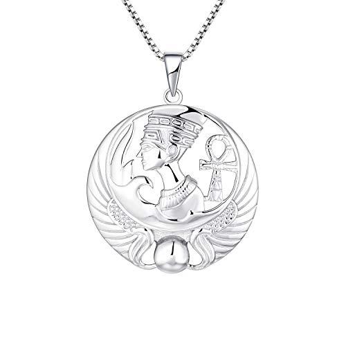 JO WISDOM Nefertiti Necklace,925 Sterling Silver Egypt Queen Nefertiti Pendant Necklace,Ankh Cross Jewelry for Women