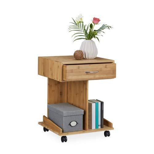 Relaxdays Beistelltisch mit Rollen ROLLI Bambus, Schublade, 2 Ablagen für Bücher, HxBxT: ca. 56,5 x 43 x 46 cm, natur