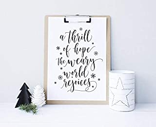 Minitowz A Thrill of Hope, The Weary World rejoices, Christmas Printable Decor Wall Art, Christmas Sign, Holiday Typography Decor