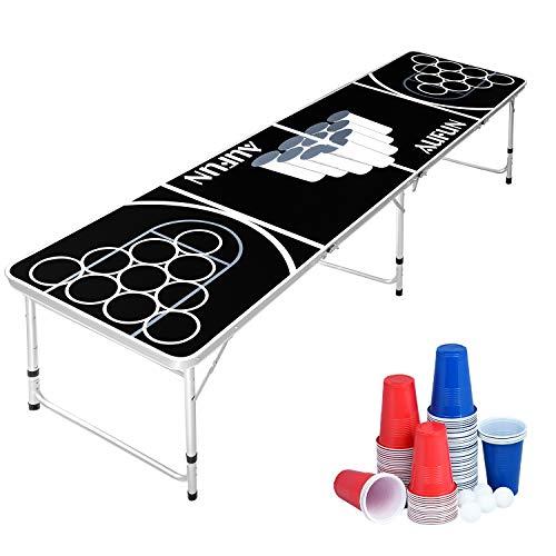Aufun Juego de mesa Beer Pong, incluye 100 vasos (50 rojos y 50 azules), 5 pelotas, mesa de pong de aluminio y MDF, juego clásico para fiestas, color negro