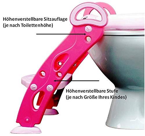 modernUP Kinder Töpfchen-Trainer für Jungen/Mädchen in Rosa; Toilettensitz STABIL, klappbar, rutschfest, höhenverstellbar (35-44cm); Baby Toiletten Trainer mit Leiter/Treppe für Kinder 1-7 Jahre