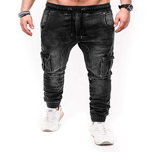 Jeans Herren Hosen Casual Cotton Denim Hose Multi Pocket Cargo Jeans Herren Denim Bleistifthose XXL Schwarz