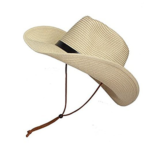 TINKSKY Cowboy Sun Hat Wide Brim Hat Summer Beach Straw Cap Foldable Caps (Beige)