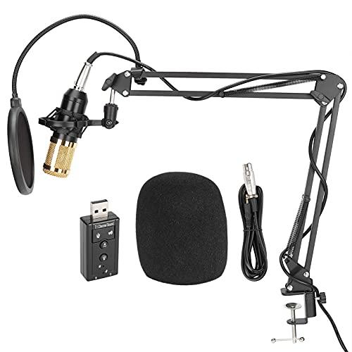 Juego de micrófono de condensador, tarjeta de sonido USB, juego de micrófono...