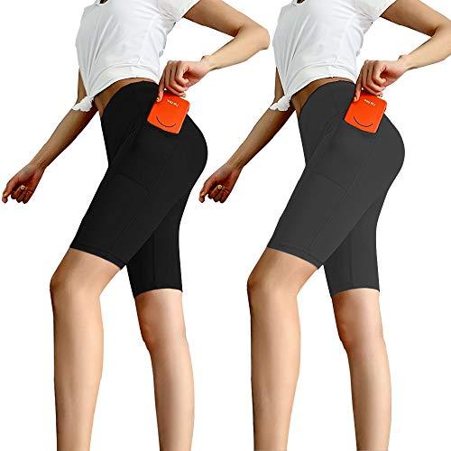 Aoliks Women's High Waisted Yoga Shorts Two Side Pocket - Best Pants for Running,Dance,Bike (Large, 2 Pack Black/Dark Gray)