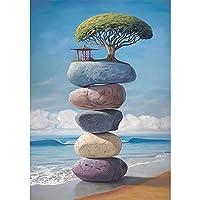 大人の子供のためのジグソーパズルアートペインティング海のビーチ色の石 家族の楽しいジグソーパズル家の装飾絵画誕生日プレゼント(1000個/75.5x50.5cm)