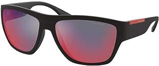برادا ليني روسا برادا نظارات شمسية للرجال 08V مطاط أسود / رمادي أحمر 59/16/135