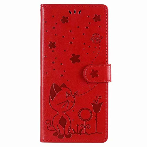 for Samsung Galaxy S8 Plus Case, Flip PU Leather Shockproof Wallet Phone Cases Cat Bee Folio Slim Magnetic Protective Cover TPU Bumper with Stand Card Holder Slots for Samsung Galaxy S8 Plus red