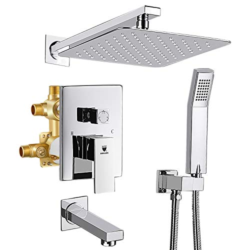 """HIMK Shower System, Shower Faucet Set with Tub Spout and 10"""" Rain Shower Head Wall Mounted Shower Set (Contain Shower Faucet Rough-In Valve),Chrome"""