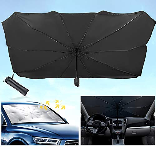 LaSyL Windshield Sun Shade, Block UV Rays Sun Protector Car Foldable Umbrellas, Sunshade to Keep Your Vehicle Cool, Easy to Use/Store(56 in x 31 -inch)