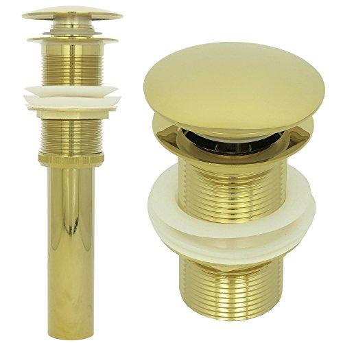 Ablaufgarnitur Waschbecken ohne Überlauf Ablaufventil Universal Abflussrohr Pop up Ventil in Gold