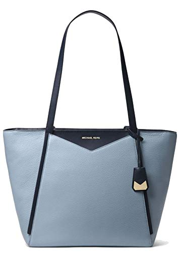 Whitney: an everyday, everywhere bag crafted from pebbled leather with smooth, contrasting trim. Understated hardware nods to a refined sensibility, while a spacious interior can accommodate a laptop or extra pair of shoes. Crafted with Soft Pale Blu...