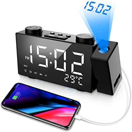 MNBVC Despertador Proyector, Radio Despertador Proyección Techo, Pantalla LED de 5 Pulgadas, Teléfono de Carga USB, 2 Modos de Alarma y 4 Sonidos de Alarma, 6 Niveles de Brillo de Pantalla, Snooze