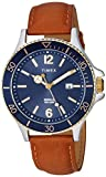 Timex Men's TW2R64500 Harborside Tan/Blue Leather Strap Watch