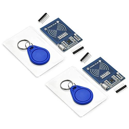 Gikfun RFID Kit - Mifare RC522 RF IC Card Sensor Module + S50 Blank Card + Key Ring for Arduino Raspberry Pi (Pack of 2 sets) EK1112x2U