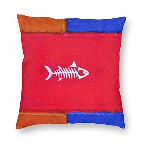 Square Throw Pillow Covers Fish Wall Pillowcase Bed 18 X 18 Inch Christmas Decorative Cushion Covers