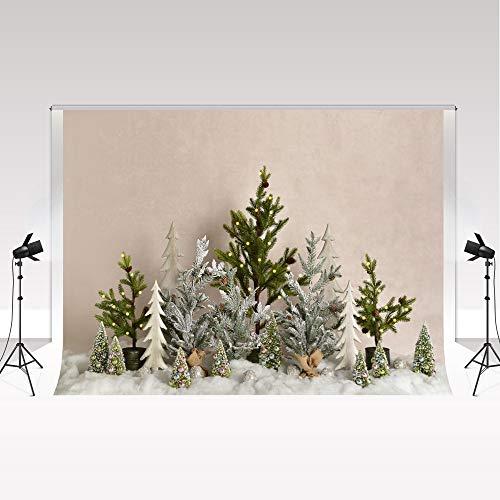 Kate sfondo fotografico 2.2x1.5m sfondi natalizi Inverno Fiocco di neve Albero di Natale Sfondo fotografico per neonato Portrait Studio