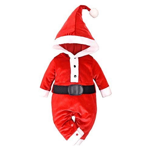 Baby Santa Outfit Newborn Boy & Girl Christmas Outfits Infant Velvet Romper with Long Tail Santa Claus Hat, Red, 3-6 Months