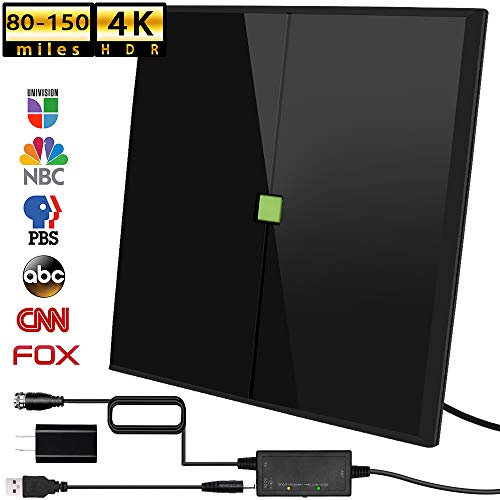 HD Antenna, 2020 Newest Indoor Digital TV Antenna 80-150 Miles with Range Amplifier Signal Booster 4K 1080P Free Local Channels Support All TV,17ft Coax Cable/USB Power Adapter (Black)