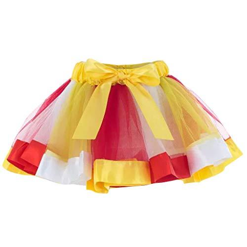 Julhold Mini Tutu Rock Damen 3 Geschichtet Tunnelzug Elastische Taille Petticoat Tanzender Rock Mädchen Chiffon Sommer Unterrock(Gelb,One Size)