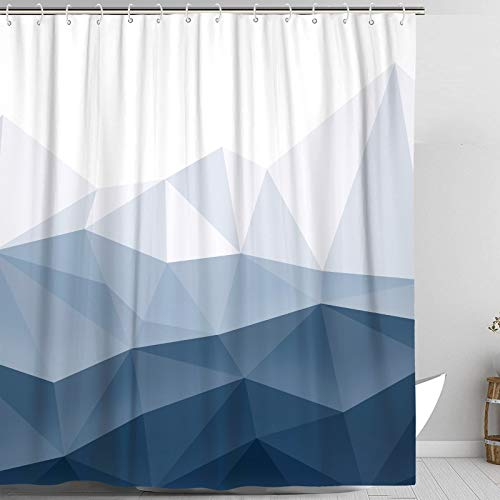 Accnicc Blue Fabric Shower Curtain Set, Navy Ombre Geometric Mountain Cloth Bathroom Curtain, Modern Decorative Bath Curtains