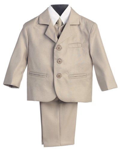 5 Piece Khaki Suit with Shirt, Vest, and Tie - Size XL (18 Month)