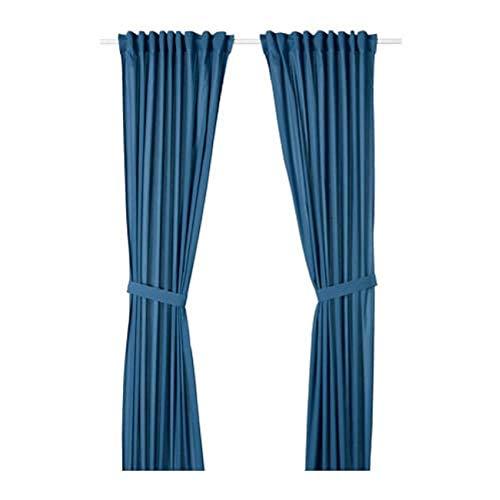 Ikea 504.279.34 - Cortinas con alzapaños, Color Azul
