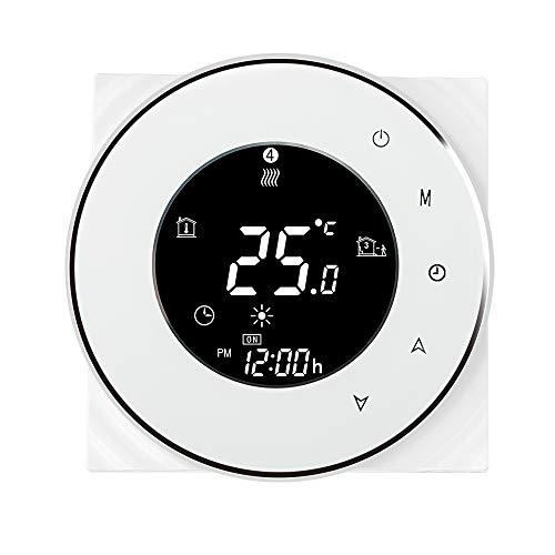 OWSOO Termostato WiFi Inteligente para Calderas de Agua/Gas, Control de App Tuya/SmartLife, Control de Voz Compatible con Amazon Echo/Google Home/IFTTT, 3A AC95-240V, Pantalla LCD