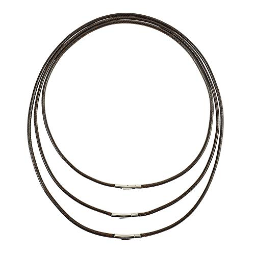 Tagaremuser 3 STÜCKE Lederband Halskette 3mm Schwarz Kunstleder Halskette Braid 316 Edelstahl Verschluss Wachs Lederkette für Männer und Frauen (Braun)