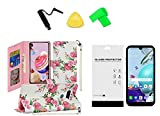 for LG Rebel K31 L355DL Deluxe Wallet Pouch Case Phone Cover + Tempered Glass + Extreme Band + Stylus Pen + Pry Tool (Roses Bouquet)