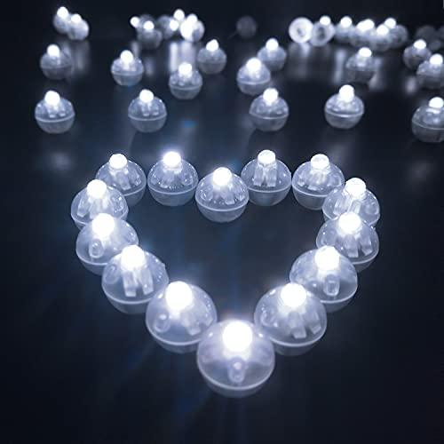 100 piezas LED Lámpara Globo, Mini LED Bombillas Luz Blanco Frío, Mini Flash Luces LED, de Decoración Globo Linterna para Cumpleaños, Boda, Navidad, Halloween, Fiesta (Luz Blanca)