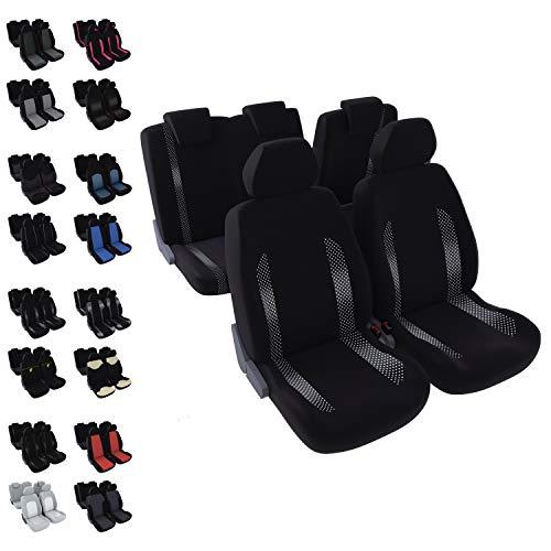 DBS - Housses de sièges - Voiture/Auto - 5 sièges - Noir + Jacquard - Universelles - Anti-dérapant - Lavable