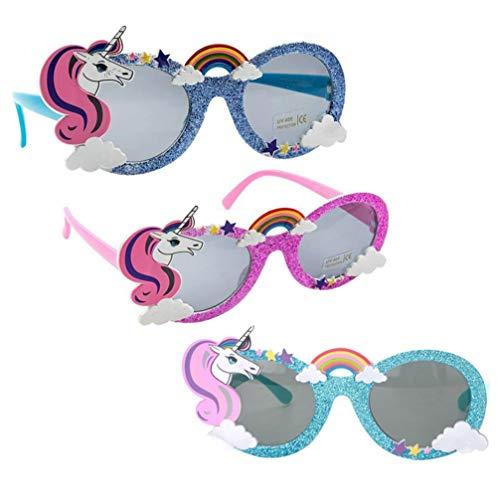 Tomaibaby Gafas de Sol de Fiesta de Unicornio de 3 Piezas Gafas de Cumpleaños de Arco Iris Brillantes Suministros de Fiesta de Unicornio para Niños Regalo de Favor de Fiesta de Baby Shower