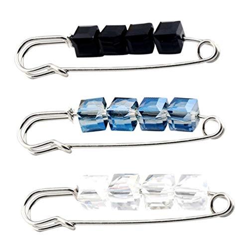 BESTOYARD - Broche de Cristal para Abrigo, pañuelo de Seda, Chal, Broche para Ropa, Joyas para Mujeres y Hombres, 3 Unidades