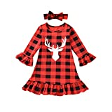 Toddler Baby Girls Buffalo Plaid Ruffle Cuff Deer Smocked Dress with Headband Fall Winter Christmas Clothes Set (Red, 3-6Months)