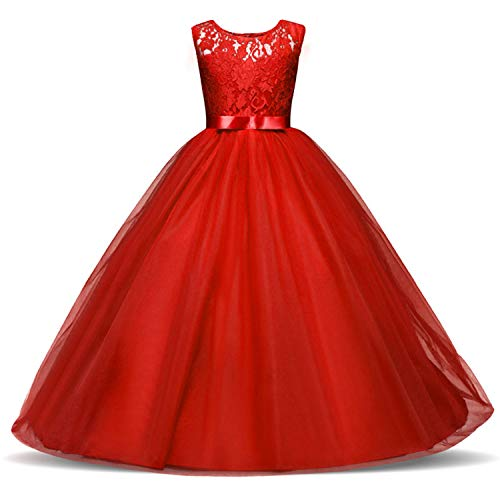 TTYAOVO meisjes kant bruidsmeisjesjurk lange lijn bruiloftswedstrijden jurken tule party jurk leeftijd 3-13Y