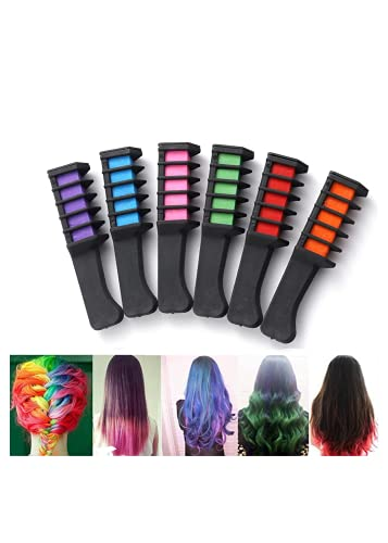 5 Color Hair Chalk Comb,Hair Chalk Comb Temporary Hair Color Dye for Girls Kids, Temporary Washable Hair Color Dye Crayon Salon Set Safe for Makeup Birthday Party Gifts for Halloween, Christmas (Red)