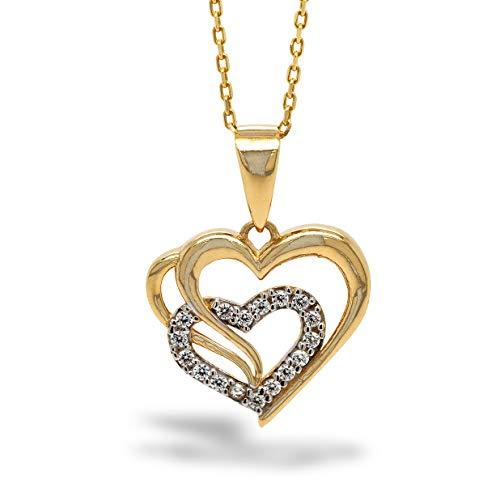 Pargold halsketting met hartvormige hanger zirkonia 585 goud, halsketting dames, van 14 karaat geelgoud met witte zirkonia, paar hart, 42 cm lange ketting 585 geelgoud
